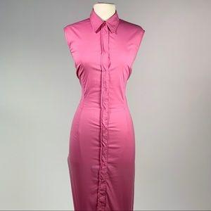 Bubblegum pink button down collar midi dress